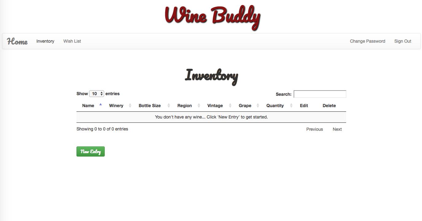 Wine Buddy Inventory