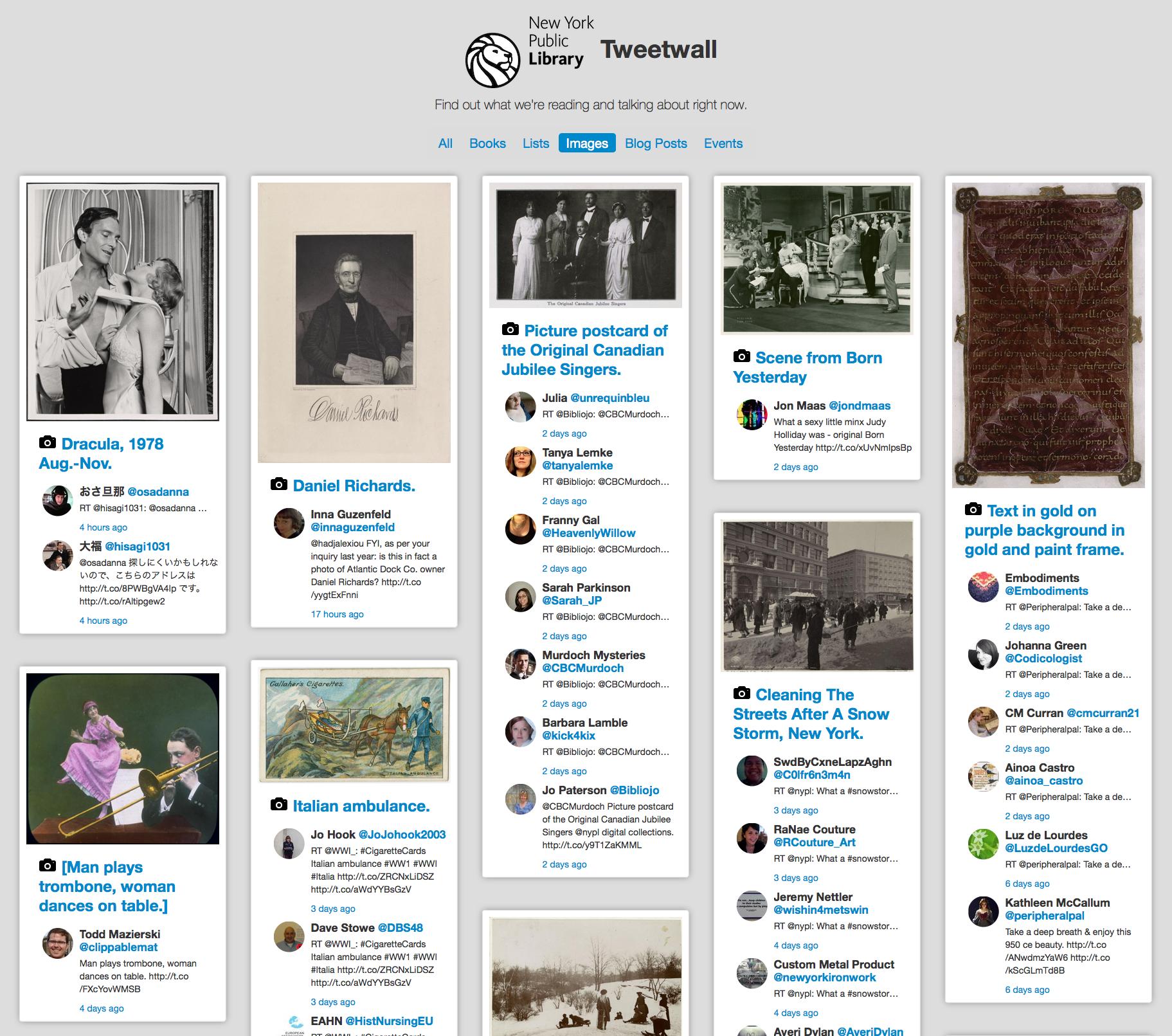 Screenshot of NYPL Tweetwall
