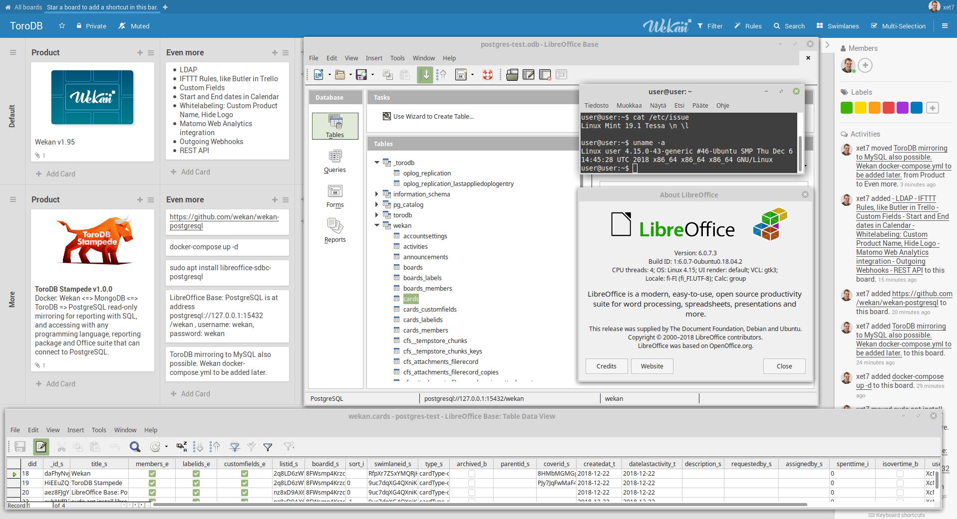 Screenshot of PostgreSQL with LibreOffice