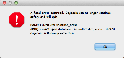 Upon exit, wallet 1 5 2 on OSX Mavericks flashes exception