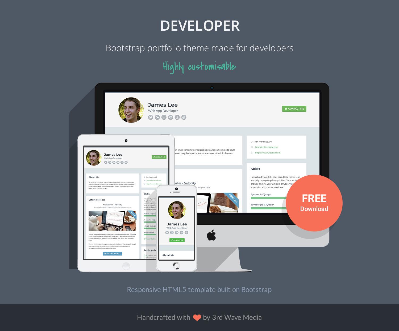 Github Xriley Developer Theme Free Bootstrap 4 Portfolio Theme