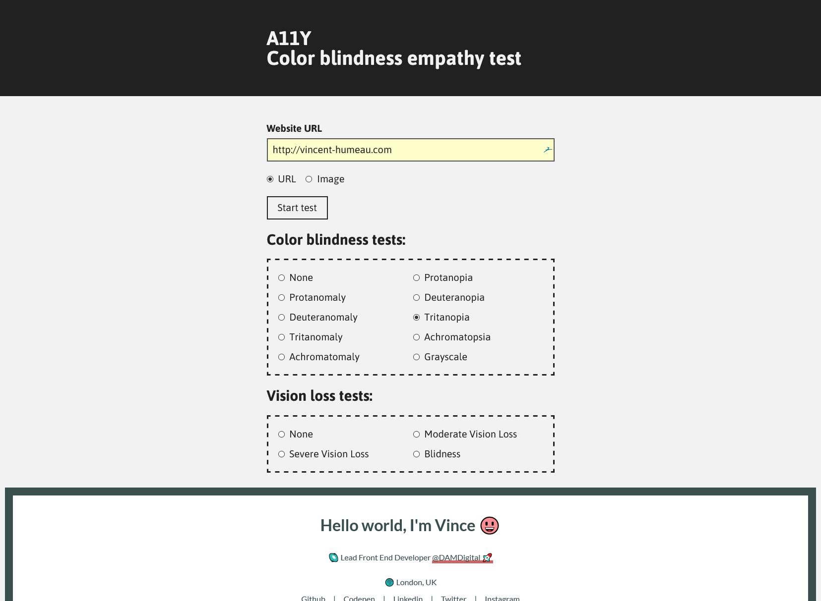 Screenshot of A11Y Color Blindness Empathy Test