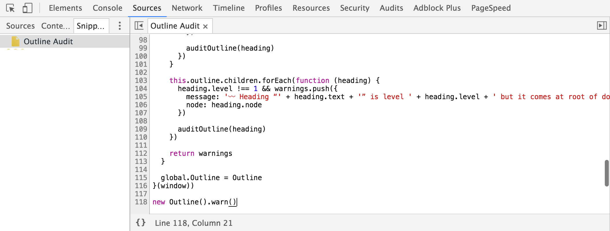 DevTools snippet for Outline Audit
