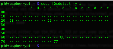 i2cdetect results