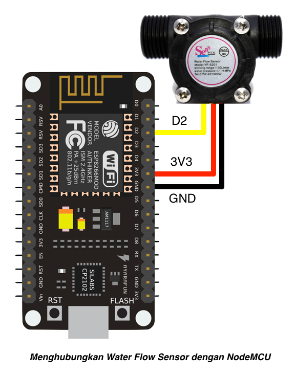 nodemcu waterflow connection