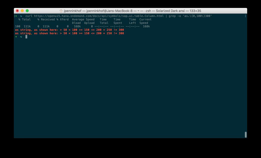 HTML formatting in documentation of sap ui table Column html