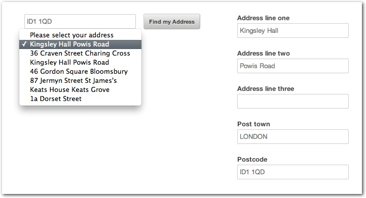 Ideal Postcodes Plugin Example