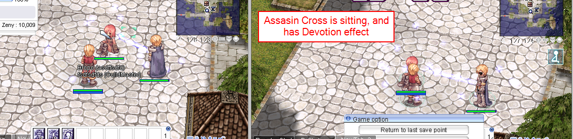 Assasin Cross is sitting with deovtion effect