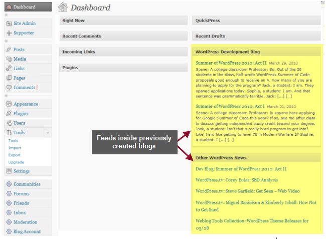 Example of a dashboard of a blog created before dashboard feed plugin installed