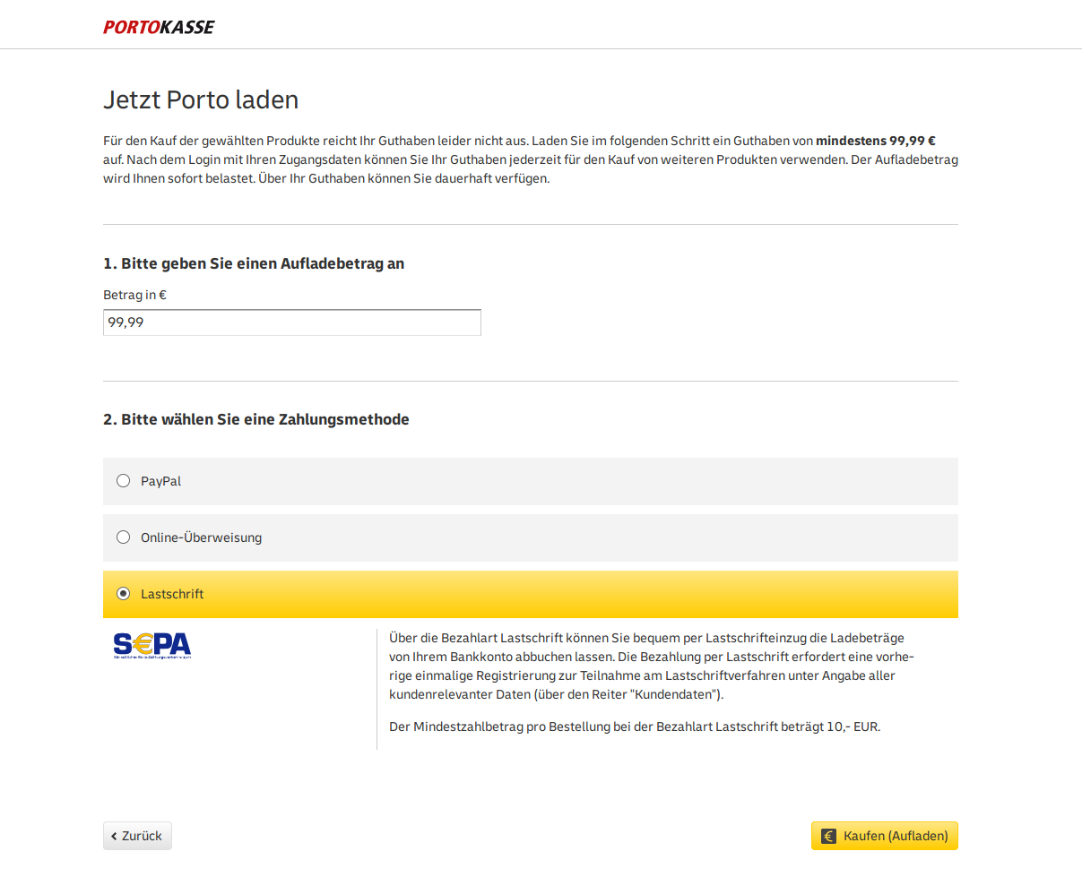 Deutsche post login portokasse