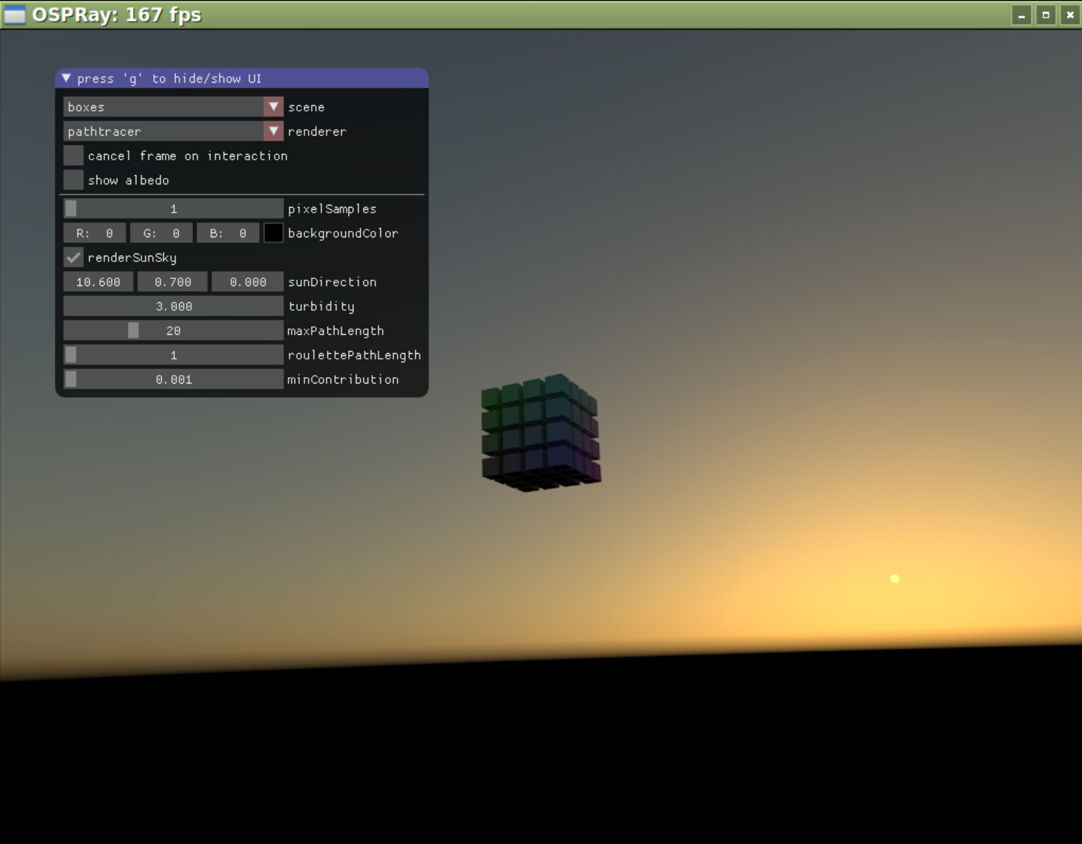 Rendering an evening sky with the renderSunSky option.