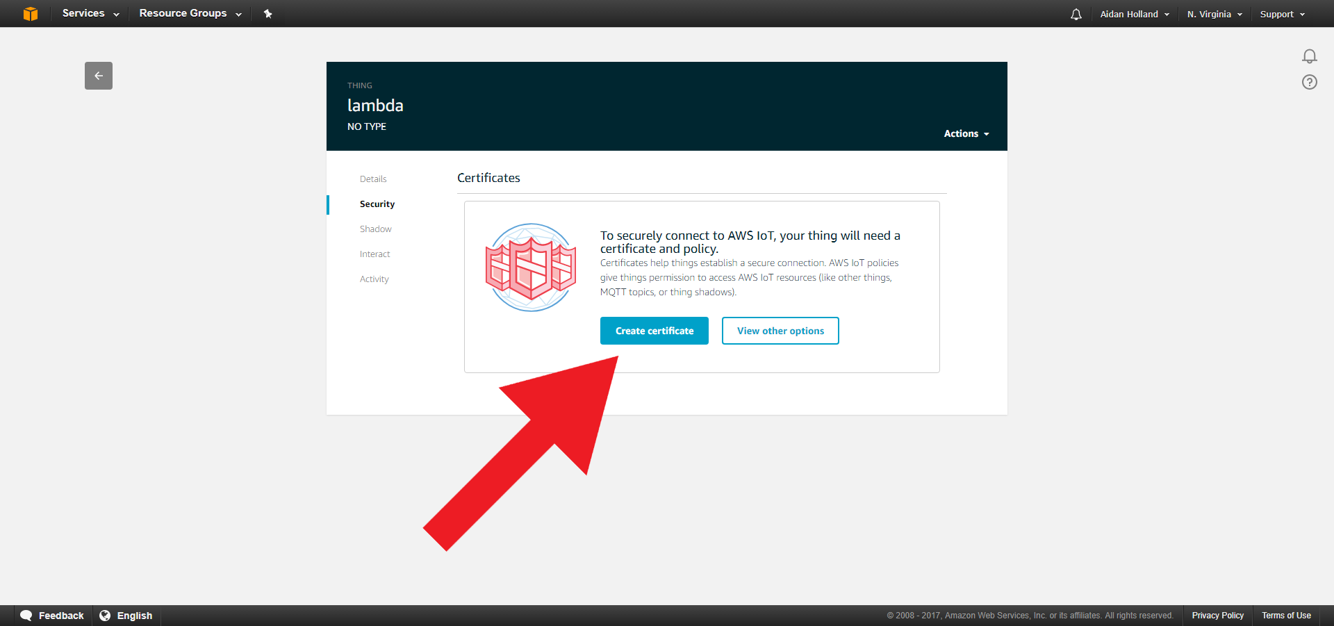 Create Certificates Lambda