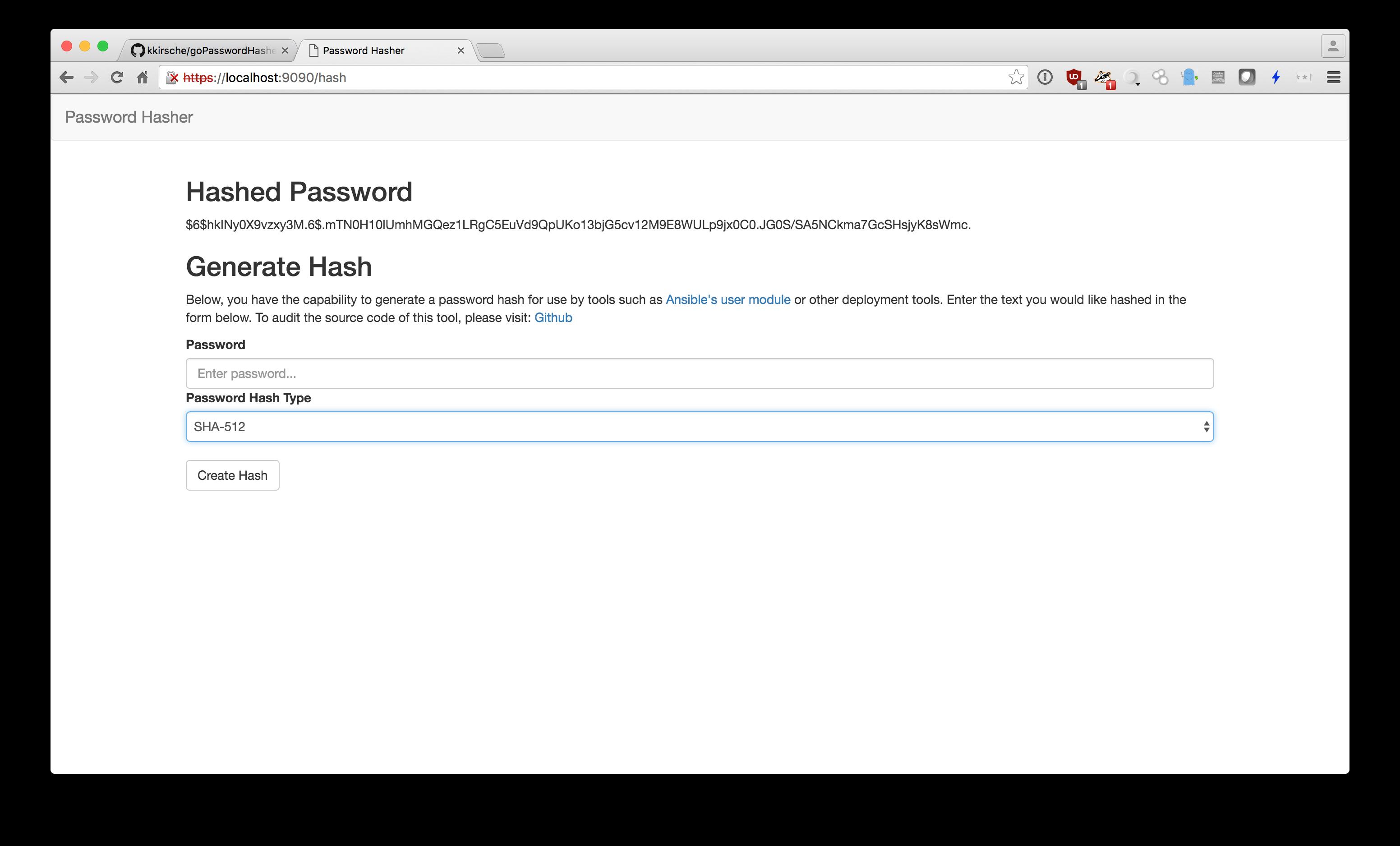 Example Password Hash
