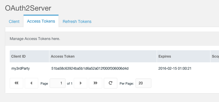 OAuth2Server Access Tokens CMP