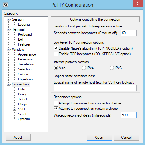 putty-reconnect-delay