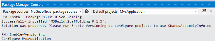 Solution Configuration using Package Manager Console