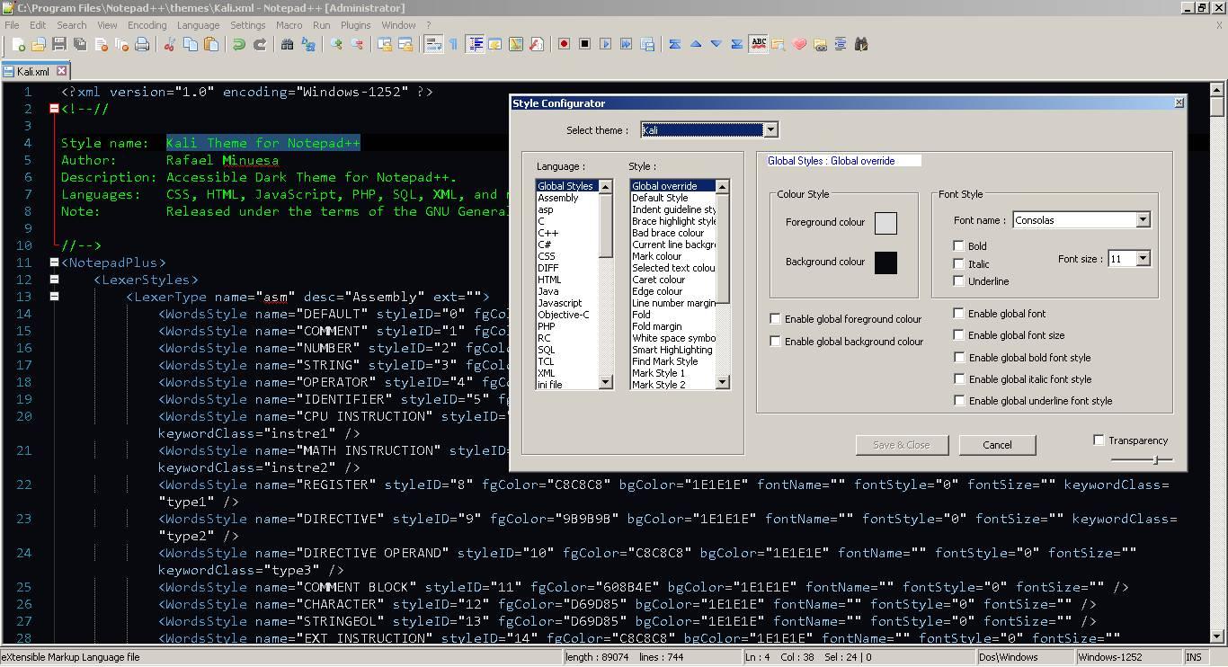 Screenshot of Kali Notepad++ Theme