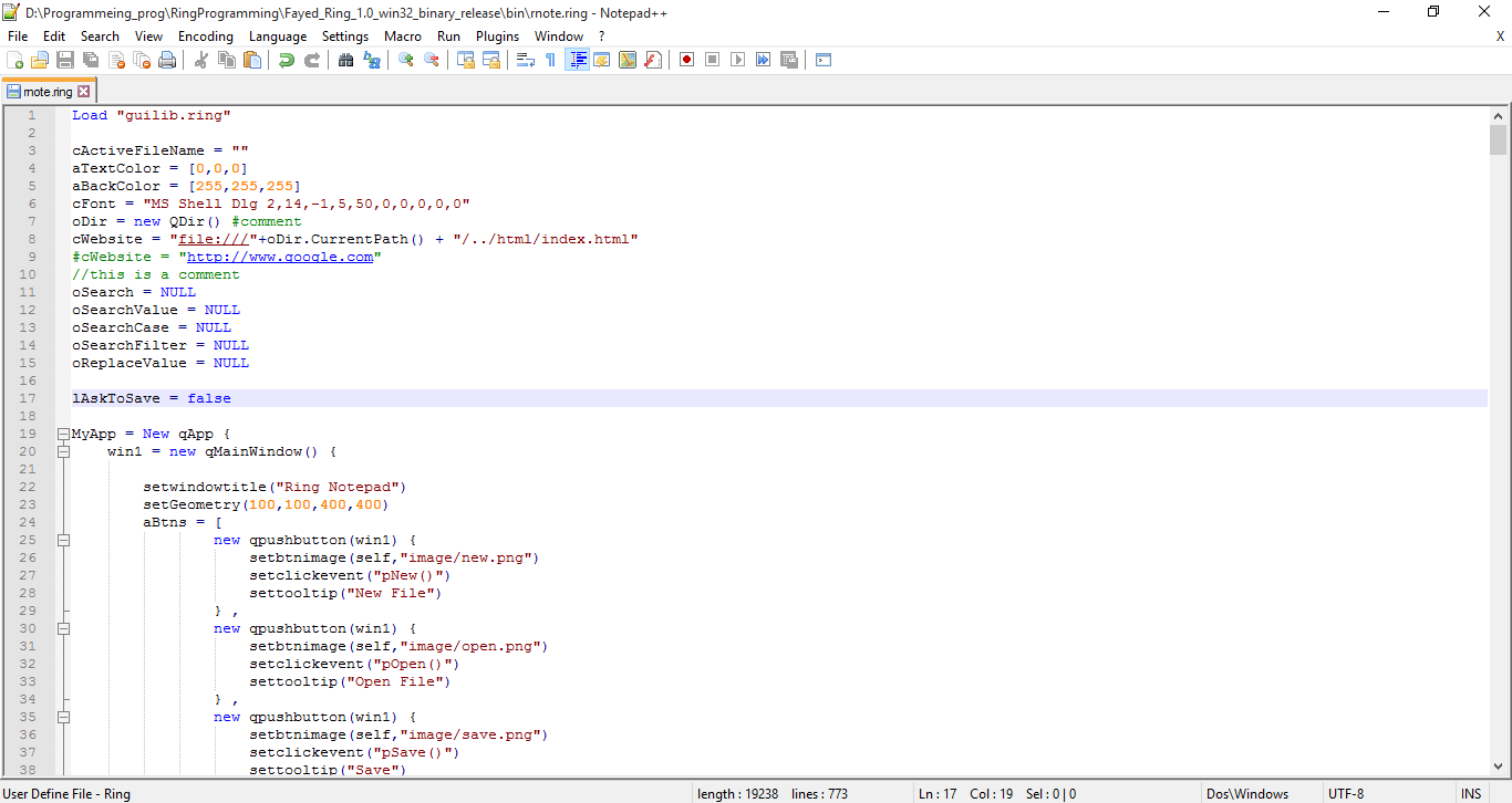Ring syntax highlighter in action