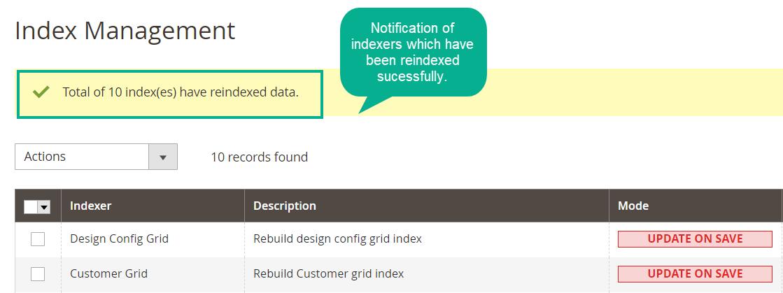 Magento 2 Reindex notification