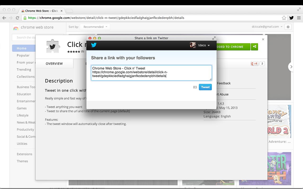 Screenshot of Click n' Tweet Chrome Extension