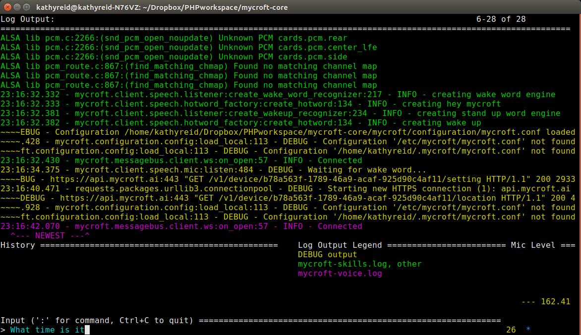 Starting mycroft-core in debug mode for Skills testing