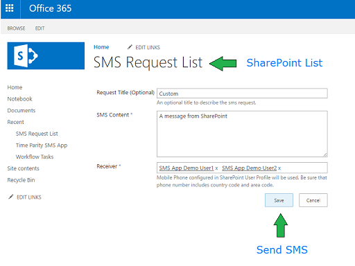 Sending SMS from SharePoint Online / SharePoint 2016.