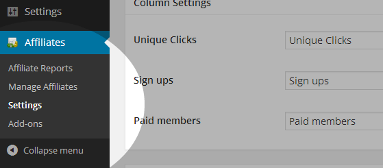 Affiliate Settings Menu