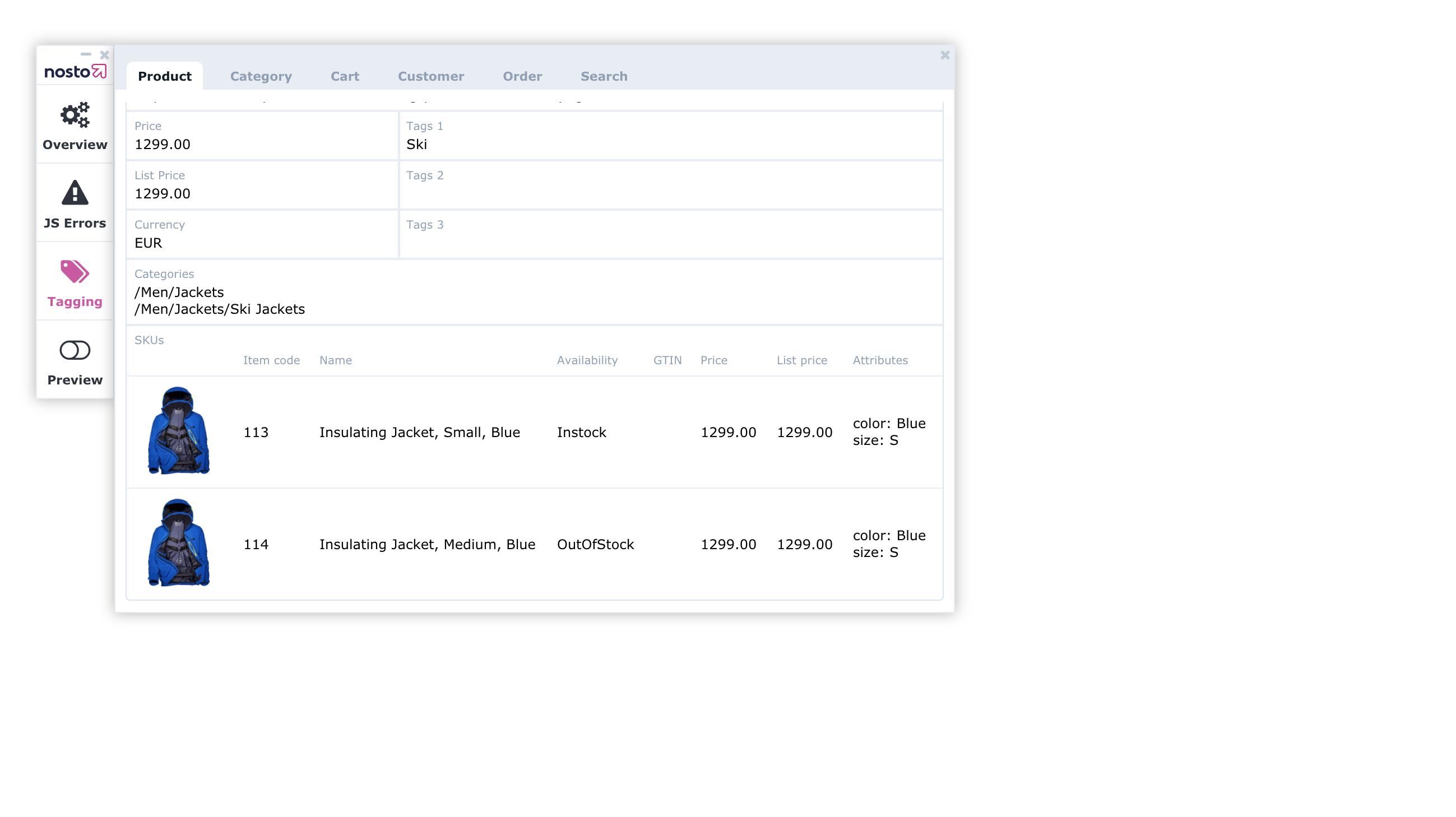 Sku debug toolbar