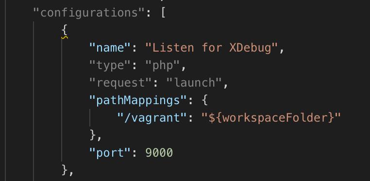 "Configuring ""pathMappings"": { ""/vagrant"": ""${workspaceFolder}"" } inside VS Code launch.json file"