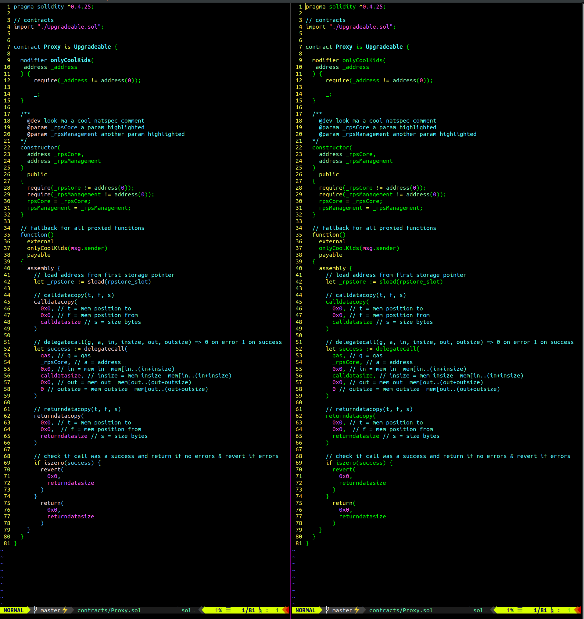 vim-solidity before & after