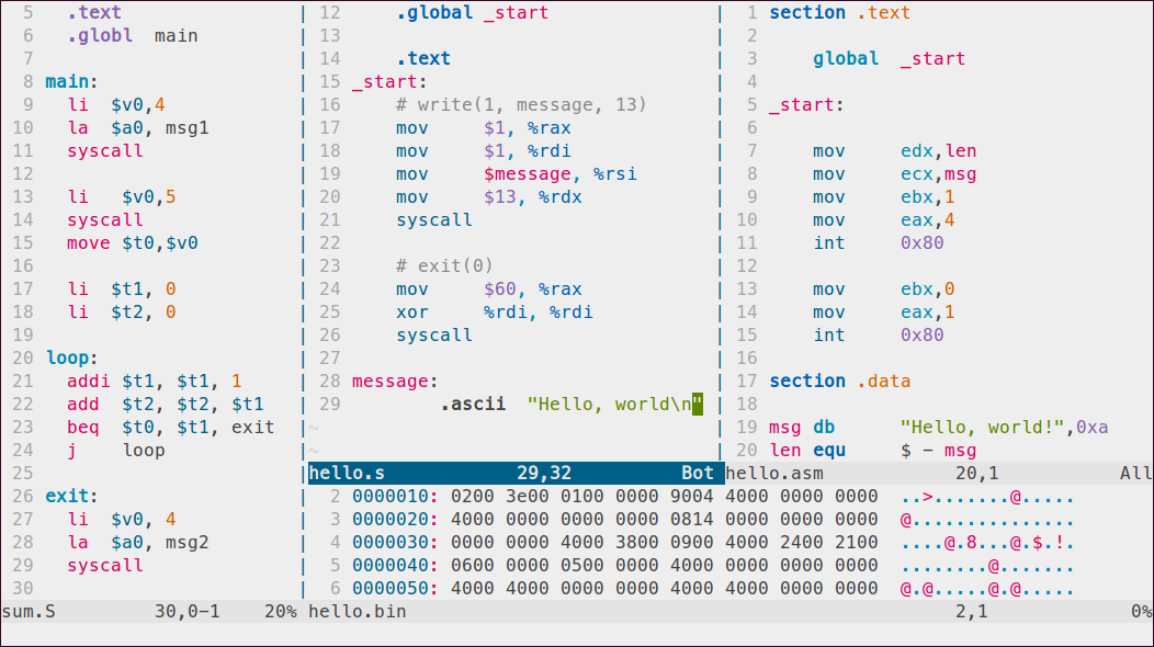 Sample Assembly code