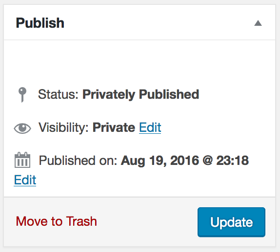 "Screenshot of ""Publish"" post metabox with ""Update"" primary button."