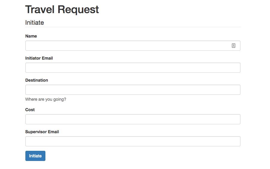 screenshot of travel request form