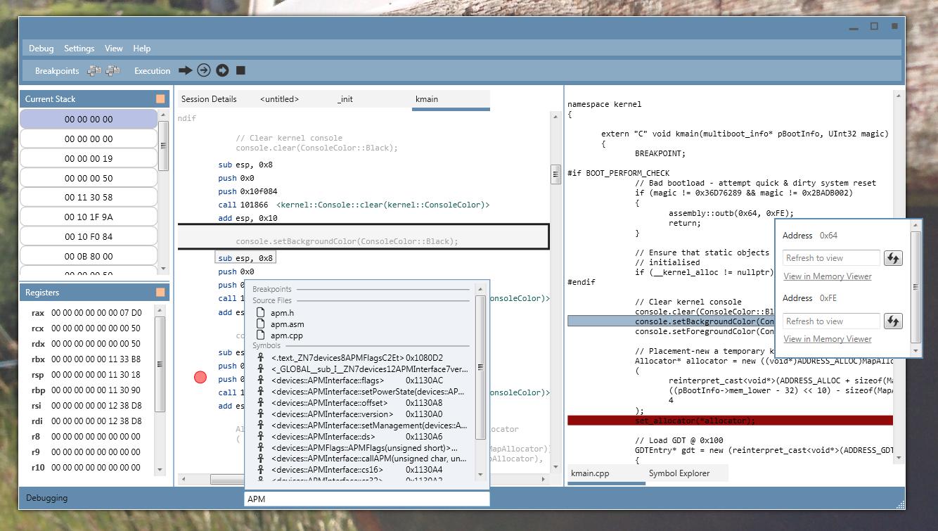 DebugOS Screenshot
