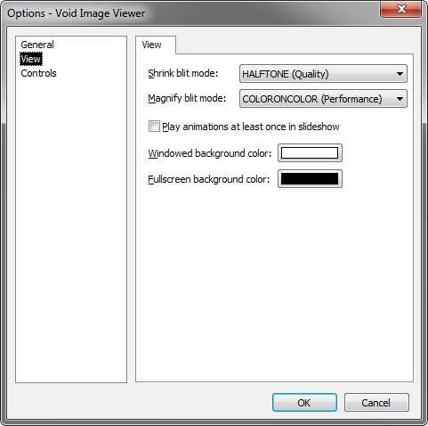 Void Image Viewer Options View