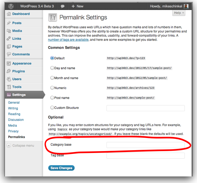 Screenshot showing Category Base option