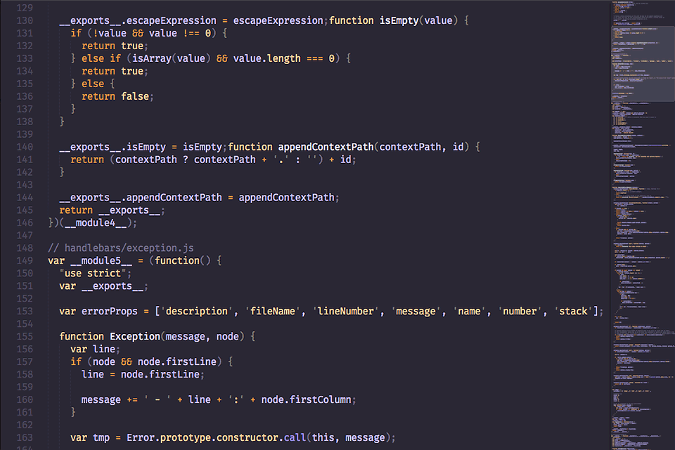 screenshot of javaScript file syntax-highlighted with DuoTone Dark colorscheme
