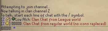 Clan chat from players on League worlds