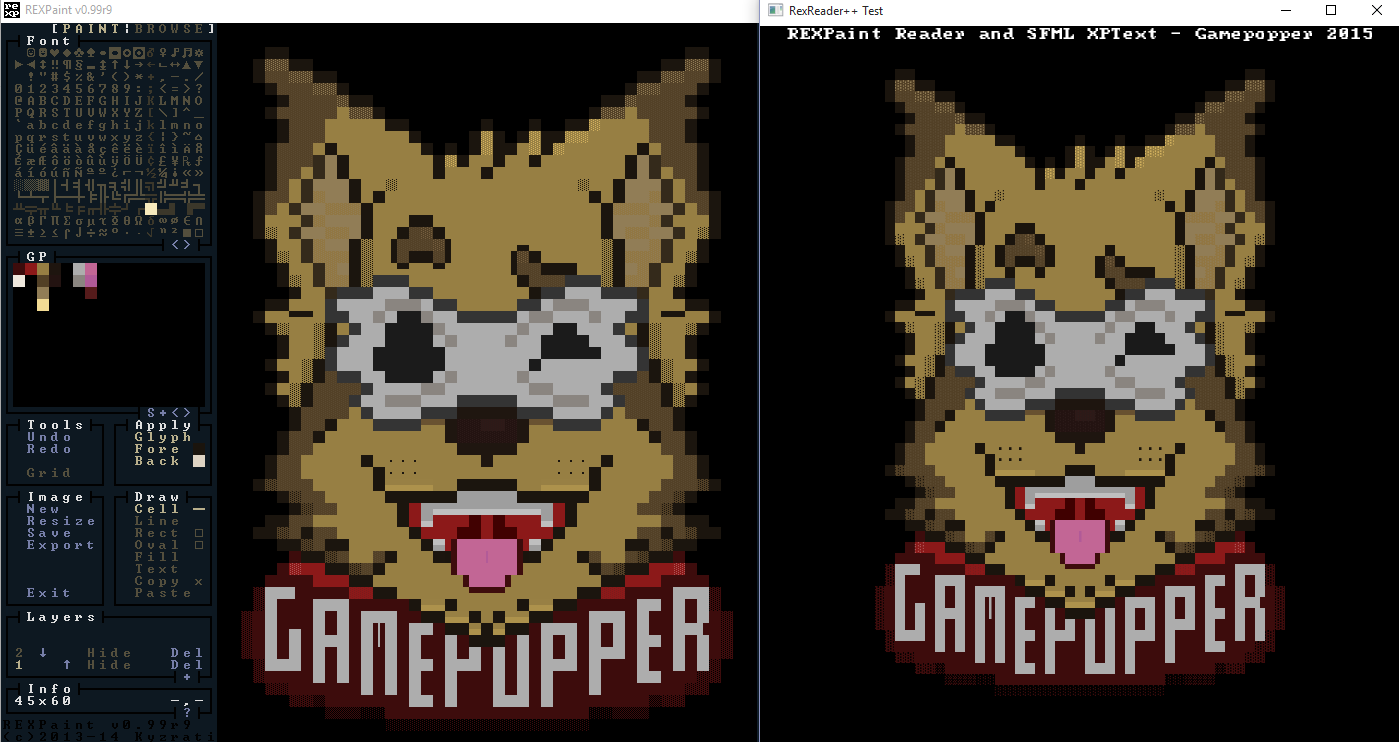 Left: REXPaint-R9 - Right: SFML 2.3.2 with XPText