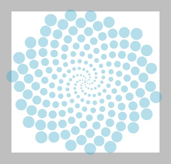 2D bubble plot of a spiral structure