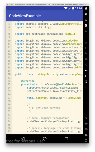 Android CodeView Example