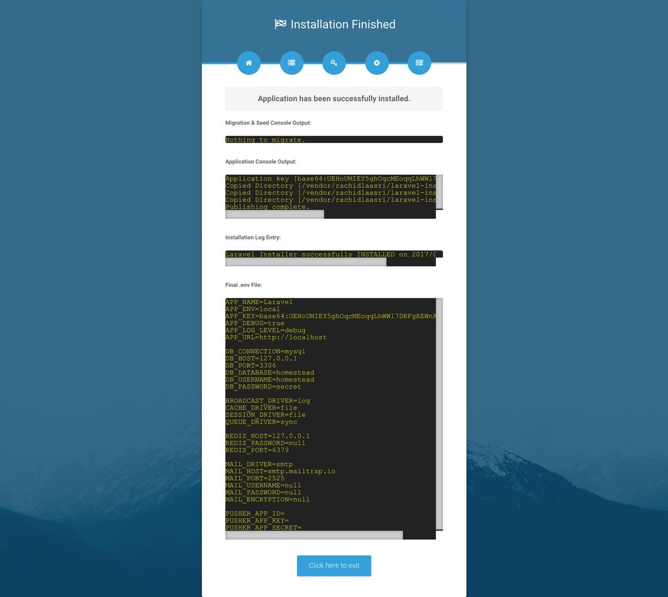 Laravel web installer | Step 5