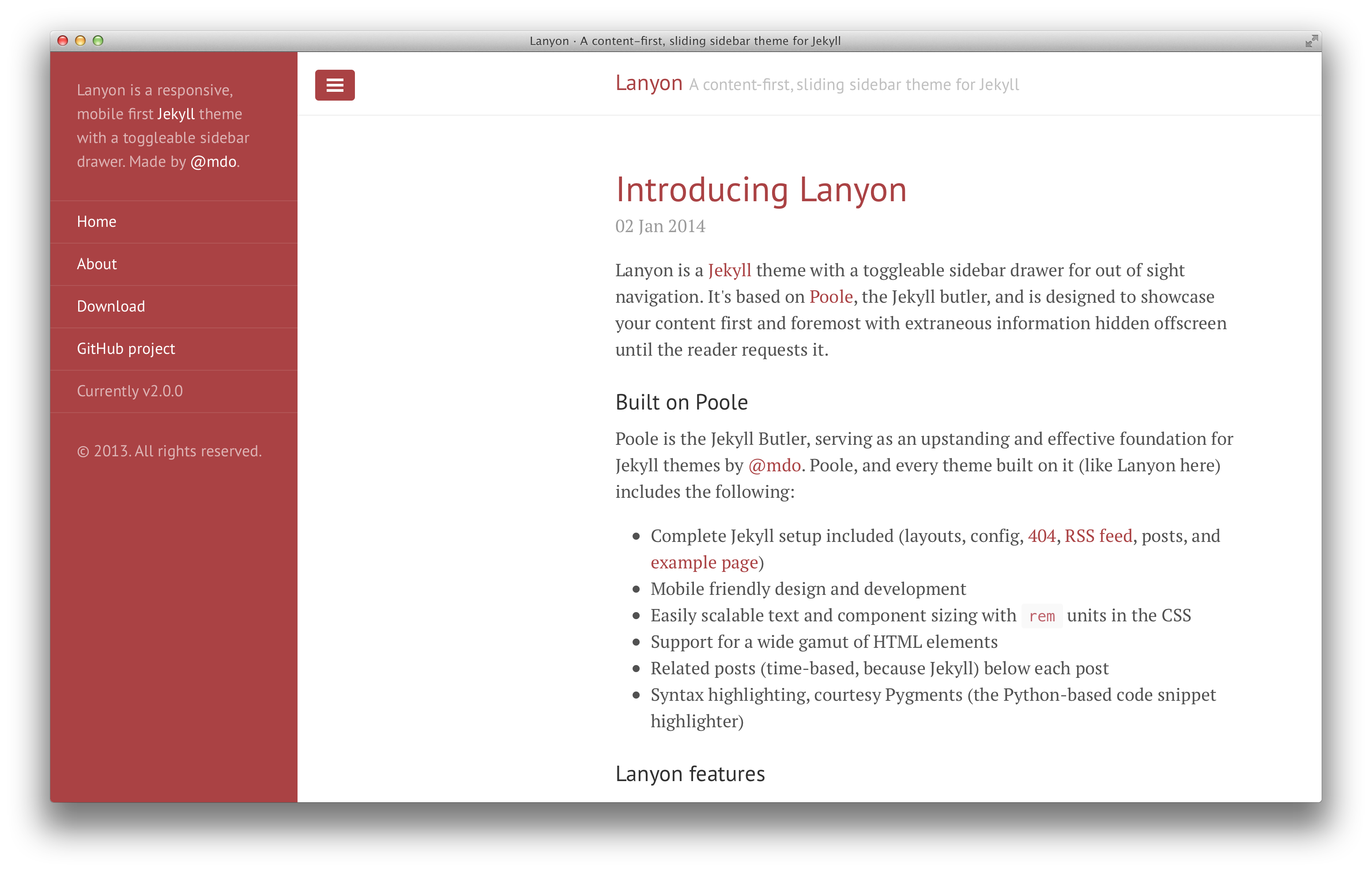Lanyon with red theme and open sidebar