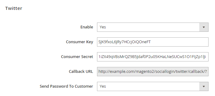 Magento 2 social login with  twitter sign-in button
