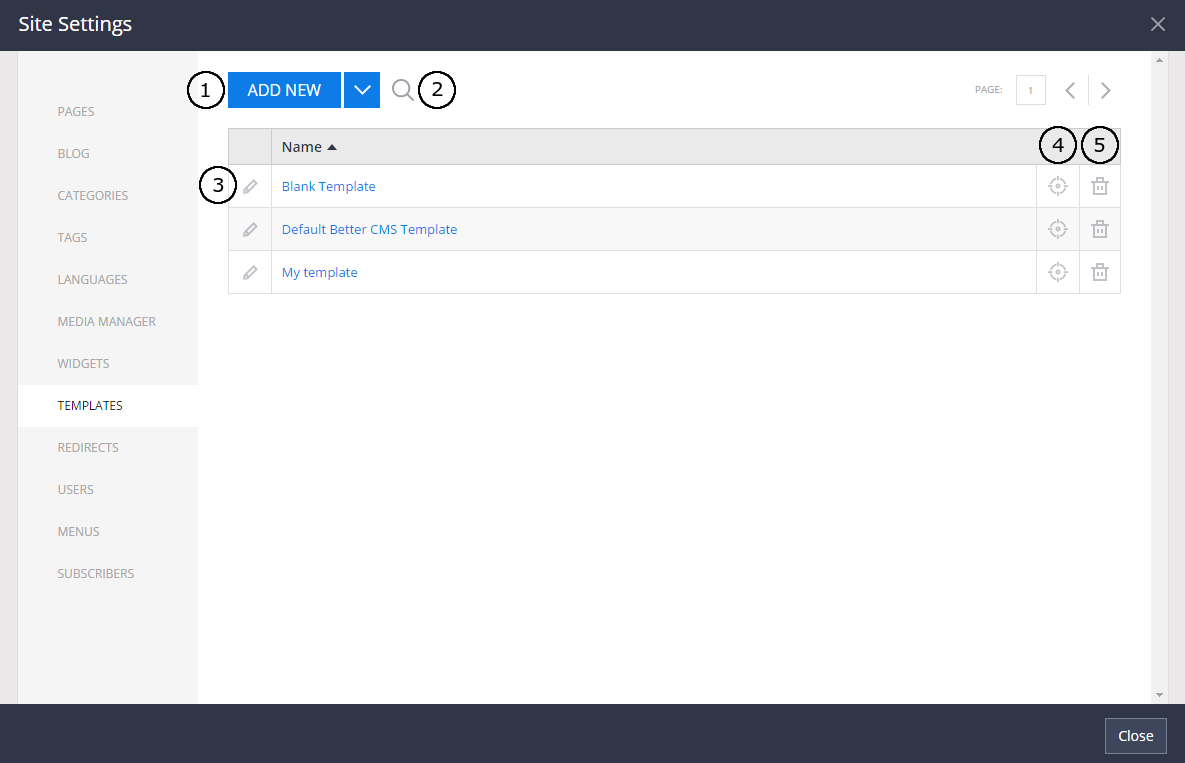 Templates in Site Settings