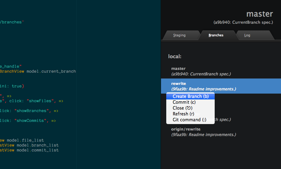 screenshot: dark theme; branch list; context menu