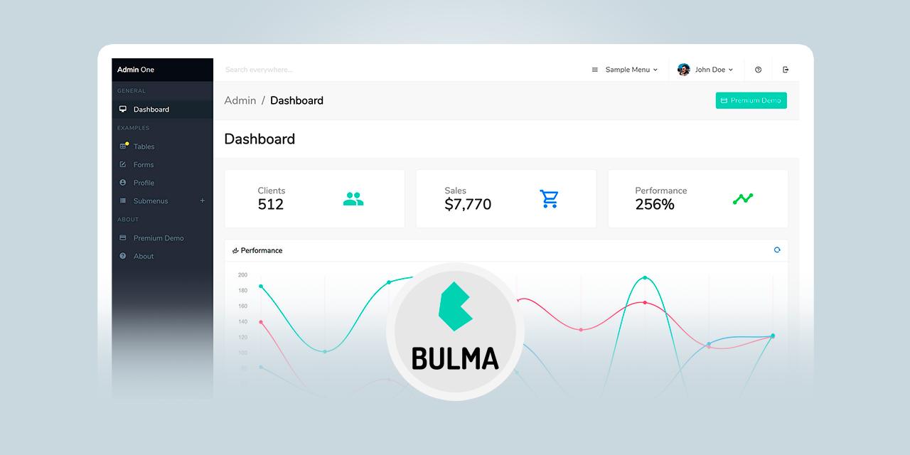 Bulma free admin dashboard