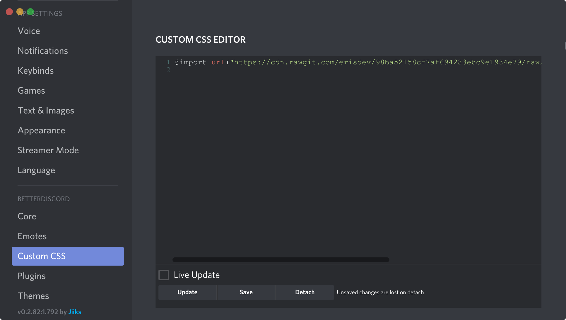 where to find the custom CSS option