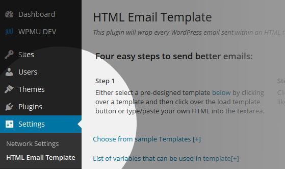HTML Email Templates Network Menu