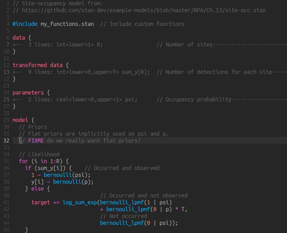 Screenshot of stan-vim syntax highlighting